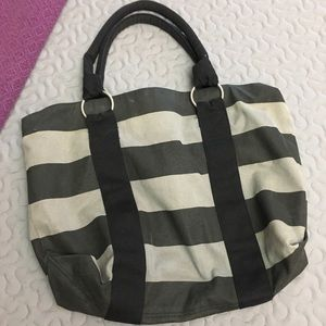 Handbags - Black and gray large striped canvas tote